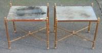 1950/70' Paire de Bouts de Canapés Bronze Modéle Bambou , Plateau en miroir oxydés vieillis Style Maison Bagués 41 X 32 cm