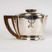 Service à thé et à café égoïste argent massif et macassar de Jean E. PUIFORCAT