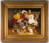 Charles Gilbert Martin 1830-1905. Panier de fleurs.
