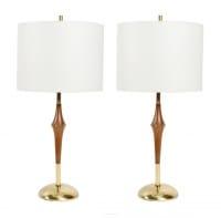 Paire de lampes de table en acajou et laiton des années 1960