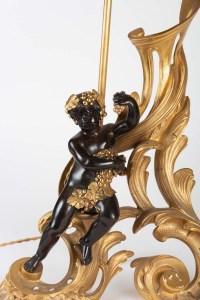 Une paire de chenets montés en lampe époque XIXe de style Napoléon III
