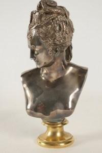 Buste De Diane En Bronze Doré Et Argenté Du Début XXème Siècle, Style Louis XV.