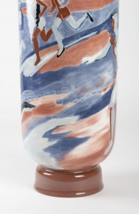 """Grand vase à décor de """" coureurs """" en porcelaine de sevres"""