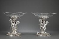 Orfèvre FROMENT MEURICE - Paire de Présentoirs bronze argenté cristal XIXè