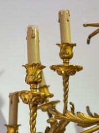 Grand lustre en bronze doré et ciselé, fin XIXe siècle début XXe siècle