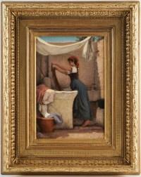 HEBERT Ernest, Antoine, Auguste (1817, 1908) -La lavandière à Capri- Daté 1874.