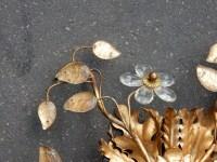 1950/70' Plafonnier à Décor Floral Avec Feuilles en Verre Style Maison Bagués