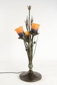 Rare lampe art Nouveau en métal à décor d'épis de blé