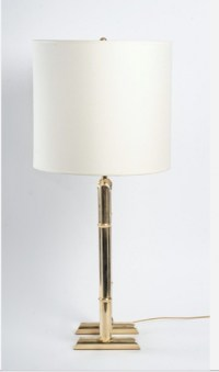 1970 paire de lampe dorée modèle bambou Maison Roche
