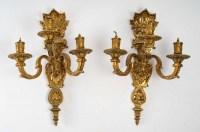 Série de 4 appliques Bronze doré poli vernis or style Louis XIV , 3 branches lumière