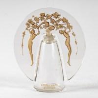 """Flacon """"Leurs Ames"""" verre blanc patiné sépia de René LALIQUE pour D'ORSAY"""