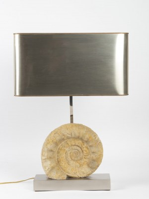 Lampe en chrome argenté et ammonite Willy Daro 1970|||||||||