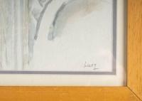Intérieur d'Eglise avec un Ange, dessin et aquarelle sur papier, encadrée sous-verre, XXème siècle. Ecole de Paris, Luez
