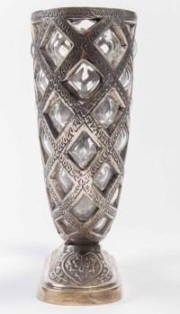 Corne d'abondance en bronze argenté et cristal, fin XIXème