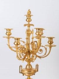 Garniture de cheminée en bronze doré Napoléon III 19e siècle