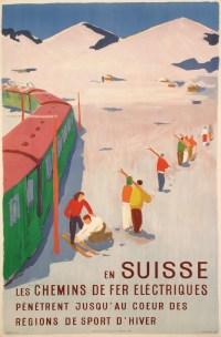 Hans Jegerlehner - En Suisse, les chemins de fer électriques pénètrent jusqu'au cœur des régions de sport d'hiver - 1950