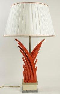 Très belle lampe en métal peint et doré, base en marbre, des années 1970.
