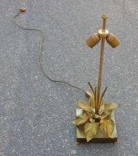 1970' Lampe aux Plantins Style Maison Jansen