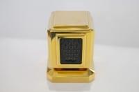 Maison Lalique : 6 Poignées Métal Doré & Cristal Noir