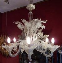 1950' Lustre Cristal Murano  6 Branches Coupoles a Bord Montant