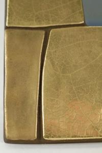 Miroir en céramique émaillé doré 1970 dans le goût de F Lembo