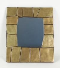 1960s Gilded and Enameled Ceramic Mirror, in the manner of François Lembo