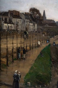 Huile sur toile, Les péniches à quai d'une ville du Nord de la France par E. Largnaud, 1884