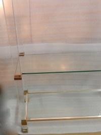 1970′ Étagère Pierre Vandel Altuglass Et Aluminium Doré