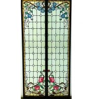Paire de vitraux clématites et pivoines