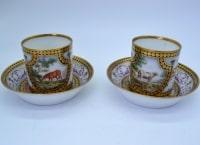 Paire de tasses litron marquées Cretté fin XVIII - manufacture Bruxelloise