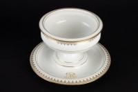 4 pièces de la Manufacture de Sèvres blanc et or signées et datées (décors 1901)