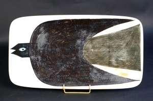 Grand plat en céramique signé de Carl Harry Stälhane & A. Laukkanen 1956
