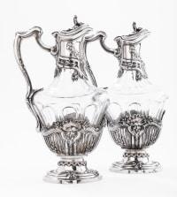 Orfèvre DEBAIN - Paire d'aiguières en cristal et argent massif fin 19è