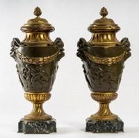 Paire de Cassolettes en Bronze Patiné et Doré,  XIXème siècle