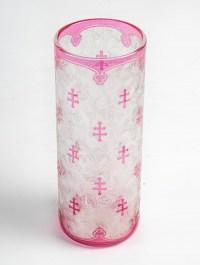 Baccarat, Vase Tube Aux Croix De Lorraine