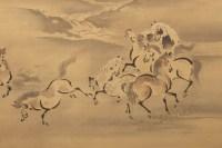 Kano Akinobu - Peinture de Chevaux en Liberté à Cote d'une Rivière, Kakemono - Détail n.2