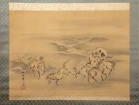 Kano Akinobu - Peinture de Chevaux en Liberté à Cote d'une Rivière, Kakemono