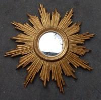 1950' Miroir Soleil Convexe, Bois Doré 70 cm
