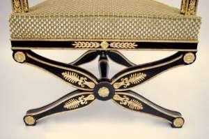 Fauteuil de style Empire en laque noire circa 1900
