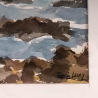 Bord de mer, XXème Siècle. Aquarelle sur papier Evelyne Luez, école de Paris