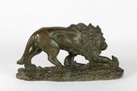 Sculpture en plâtre Lion et Serpent signée CAPOVANI