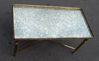 1970' Table Basse en Bronze Avec Entretoise Maison Bagués Avec Plateau Miroir Oxydé 90 X 45 cm