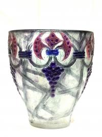 """Vase """"Grappes"""" pâte de verre grise, rose et violette de Gabriel ARGY-ROUSSEAU"""