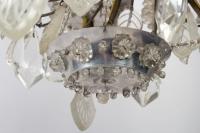 Lustre Bagues 1900 en cristal et cristal de roche à 5 lumières