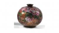 Camille FAURE (1872 1944) vase Boule Fleurs Emaillé