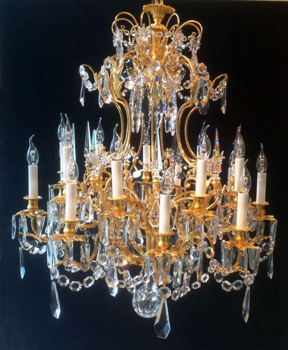 le march biron lustre en bronze dor et cristal du xix si cle. Black Bedroom Furniture Sets. Home Design Ideas