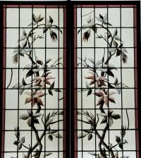 Vitraux clématite grimpante en vase