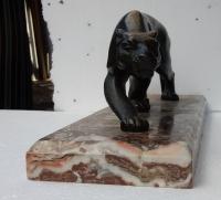 Salvatore MELANI (1902-1934) Panthére en Bronze Sur Marbre Art Deco