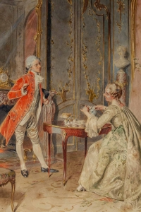 Gouache sur papier signée, Bernard Louis Boriohe, Paris 1906.