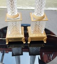 1950-70' Paire de Lampes  Style Empire en Cristal et Bronze Style Maison Charles